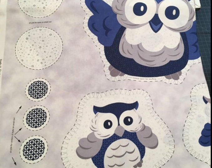 CLEARANCE -       Stuffed Owl Fabric cotton Panel by Quilting Treasures