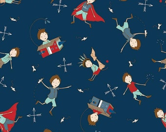 CLEARANCE -    ! Greatest Adventure Main Navy Cotton Woven Fabric by the yard, Riley Blake  - Price per yard !