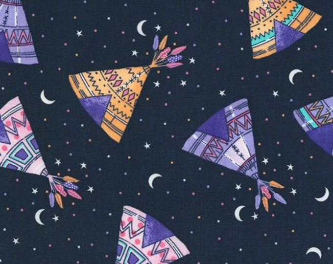 Timeless Treasures - Navy TeePees C6464 Cotton Woven Fabric