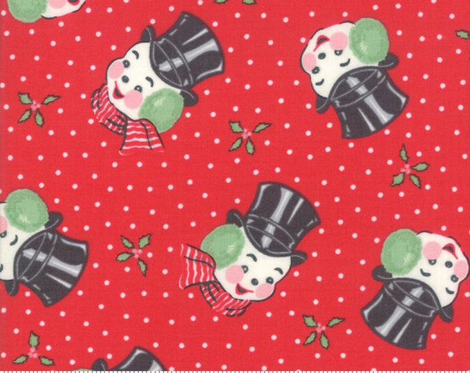 Moda Fabrics - Sweet Christmas by Urban Chiks - Mr. Snowman Peppermint #31152 12 Cotton Woven Fabric