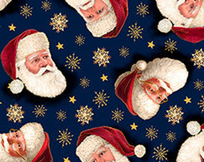 Quilting Treasures - Christmas Eve - Santa Faces Tossed on Navy - Metallic Cotton Woven Fabric