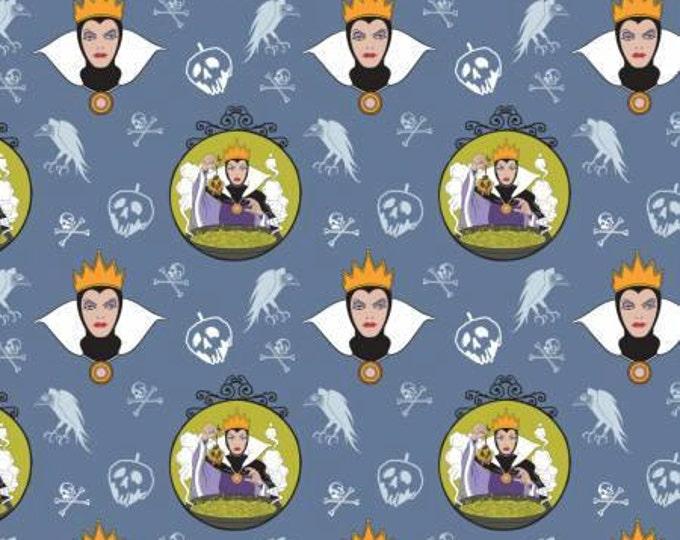Camelot Fabrics - Disney's Evil Queens -  Character Bubbles Light Blue Cotton Woven Fabric