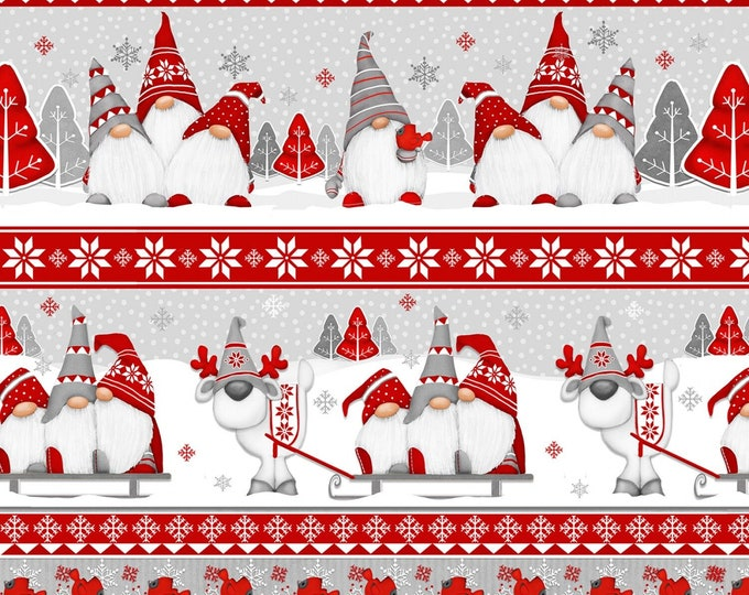 Henry Glass Fabrics - Winter Whimsy Flannel - Red/Grey Novelty Stripes Gnomes Flannel # F1629-89 - 100% Cotton Flannel