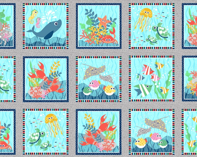 Sea Buddies - Sea Blocks - 24 Inch Cotton Woven Fabric Panel - Blank Quilting 9311-90