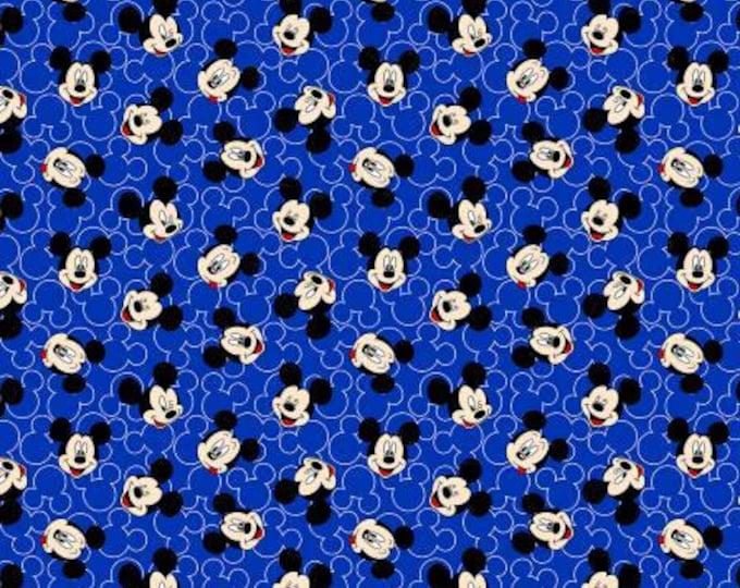 Disney Mickey Mouse Face Toss on Blue Knit cotton Lycra Knit fabric