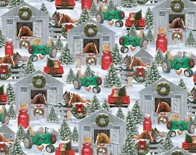 Timeless Treasures - Snowy Snowy Horse Stable cotton woven fabric