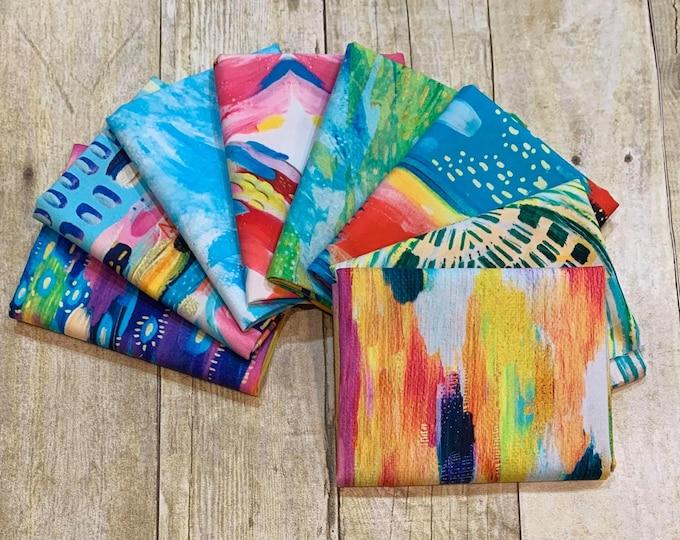 "3 Wishes Fabric - Artsy Brights Digital - Fat Quarter (18"" x 22"") Bundle of 8 Prints  - Cotton Woven Fabric"