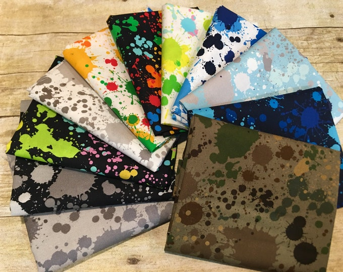 Robert Kaufman Fabrics - Splatter - 11 piece Fat Quarter Bundle Cotton Woven Fabric