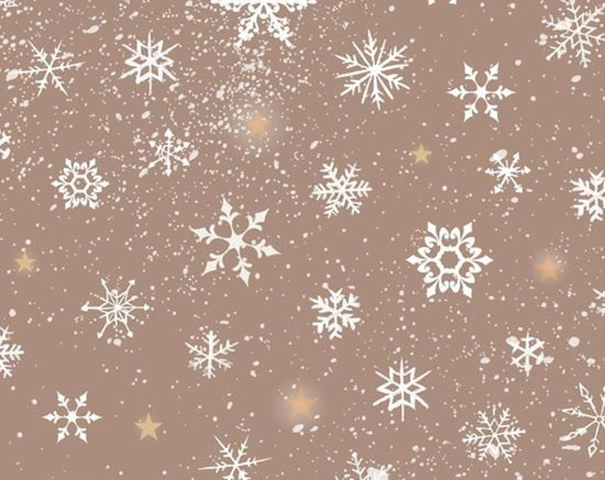 SALE !!! Woodland Wonders Snowflake in Dark khaki Cotton Woven by Quilting Treasures
