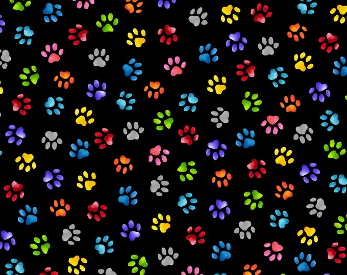 Blank Quilting - Pablo Picatsso - Paw Prints - Black 9781-99 - Cotton Woven Fabric