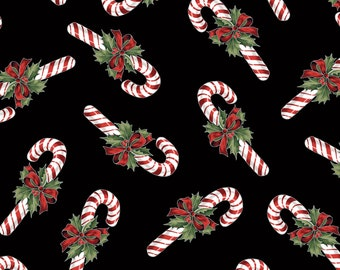 Hoffman Cardinal Carols - Candy Canes on Black - Q7629 -  Metallic Cotton Woven Fabric