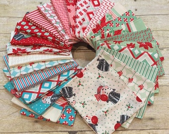 Moda Fabrics - Sweet Christmas by Urban Chiks - 42 piece Mini Charm Pack 2.5 inch Squares Cotton Woven Fabric