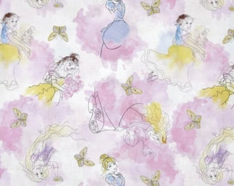CLEARANCE -      Disney Princesses Watercolor Cotton Woven Fabric  - Price per yard