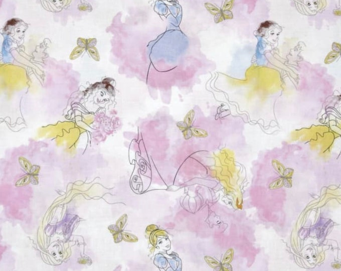 CLEARANCE -      Disney Princesses Watercolor Cotton Woven Fabric  - Price per yard