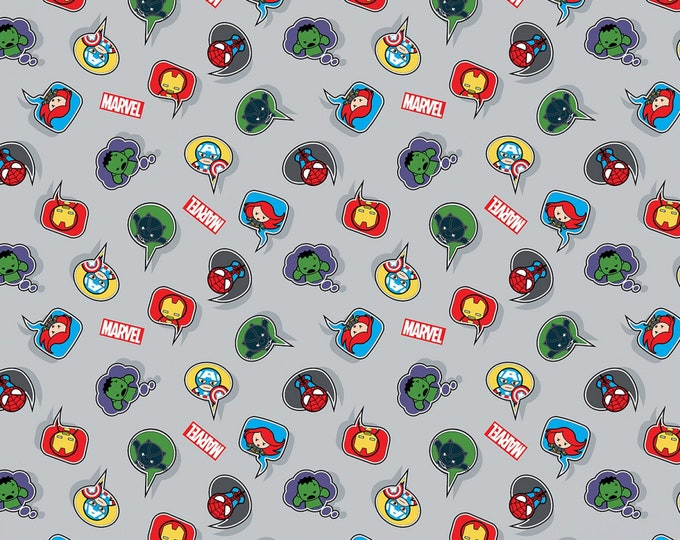 Kawaii Super Heroes Speech Bubbles - Cotton Woven, Springs Creative