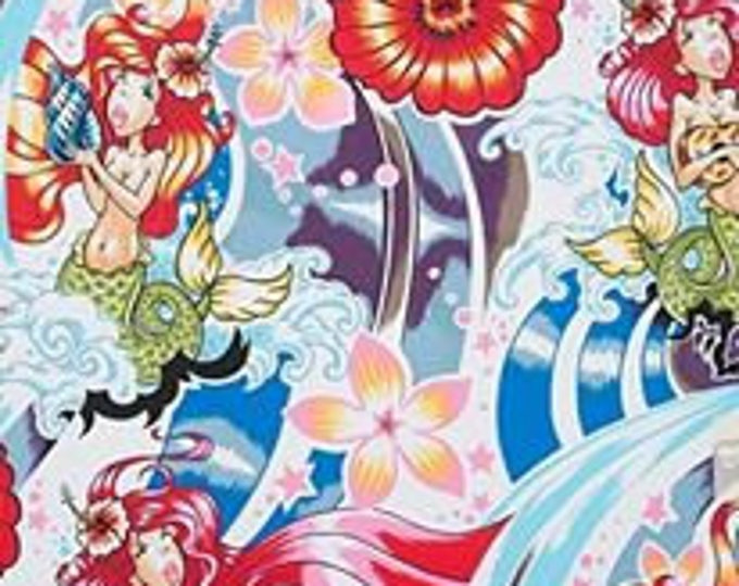 Alexander Henry Fabric -  Chula Hula Mermaid and Skulls cotton fabric