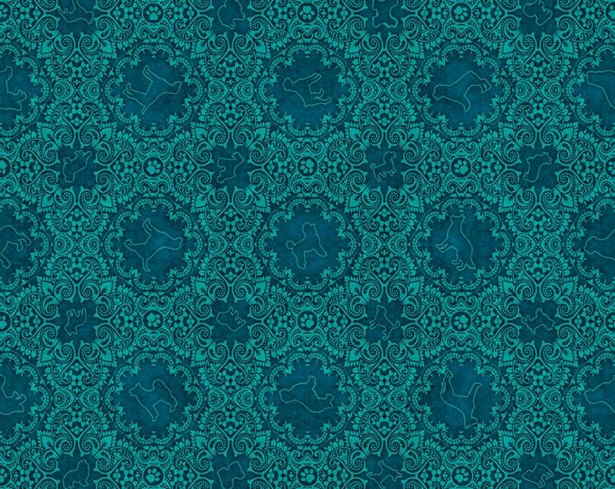 Quilting Treasures Fabric - Must Love Dogs by Dan Morris - Aqua Dog Medallion   26940Q Cotton Woven Fabric