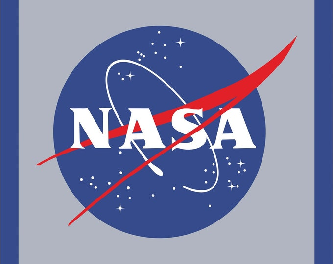 Riley Blake Fabric - Licensed NASA Out of This World - 36 Inch Logo Panel  P7800-Blue Cotton Woven Fabric