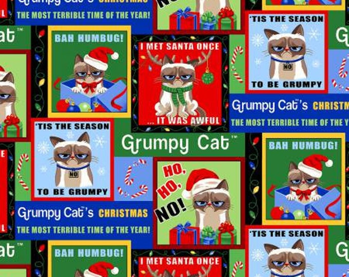Marcus Brothers Fabric - Grumpy Cat Holidays - Christmas Patches - Cotton Woven Fabric