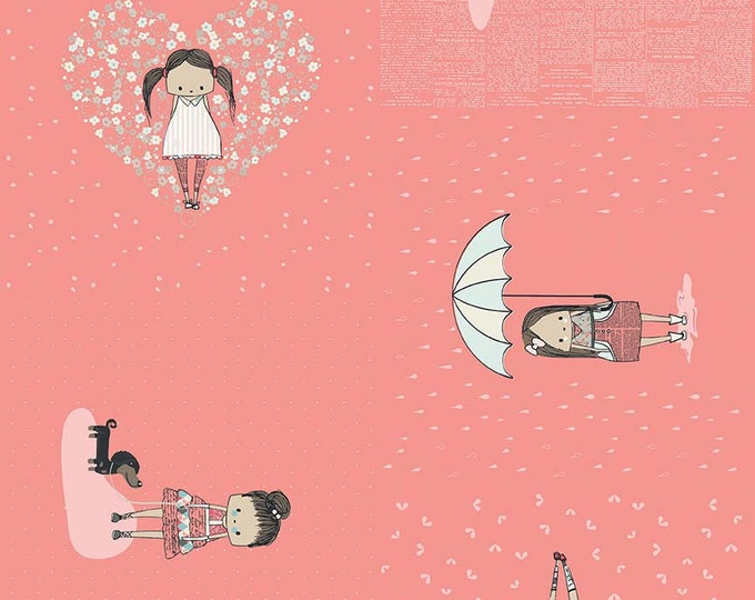 Sue Daley - Abbie - Main Coral - Cotton Woven Fabric - Riley Blake