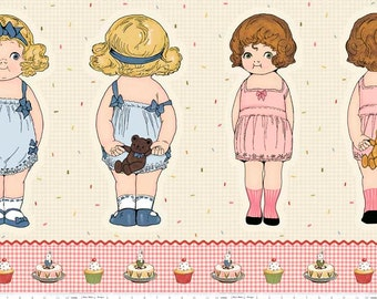 CLEARANCE -     Paper Doll Bakery Cotton, large doll panel 24 inches wide on Beige by Riley Blake/Penny Rose Fabrics
