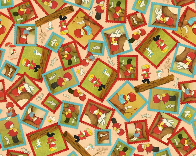 Quilting Treasures - Reading Together - Licensed by Santoro - Light Tan Poppi Loves Framed Character Toss  #26881A Cotton Woven Fabric