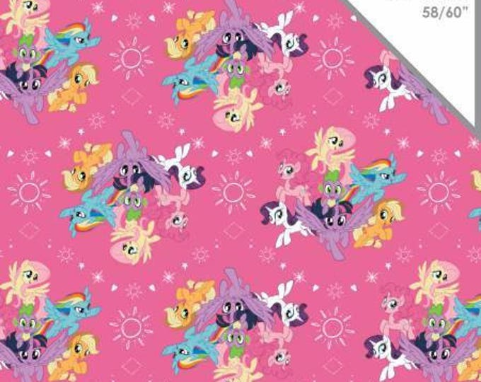 LAST PIECE !!!   2.5 yards !!!!!    My Little Pony Cotton Lycra Knit fabric,  Pink Ponies