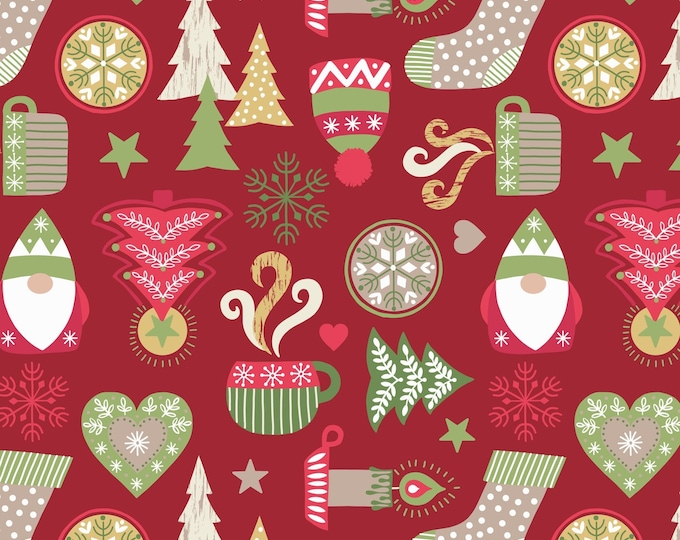Lewis & Irene -Hygge Christmas - Icons - Red - C26.2 Cotton Woven Fabric