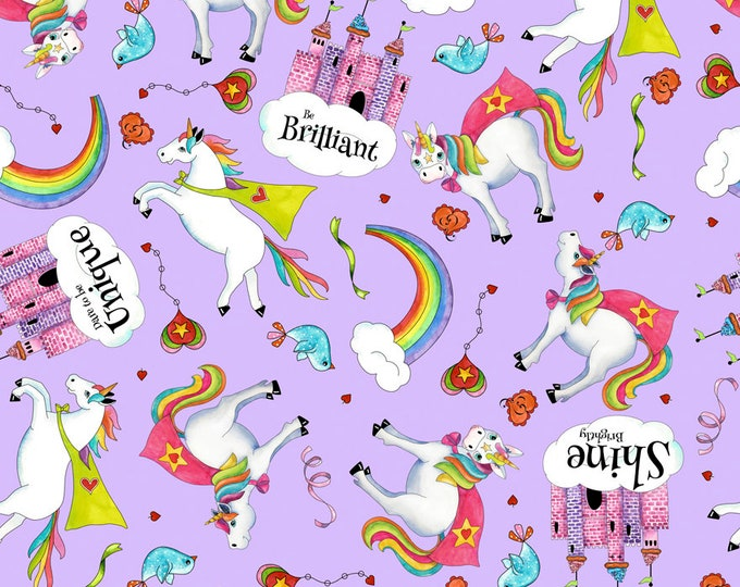 Quilting Treasures - Party Like a Unicorn from Desiree's Designs - Light Lilac Tossed Unicorns  26912L Cotton Woven Fabric