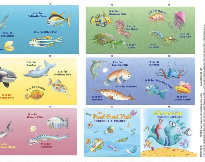 "Riley Blake - Licensed Pout Pout Fish- Soft Book Panel 24"" X 42""Multi # P8254R-MULTI Cotton Woven Fabric"