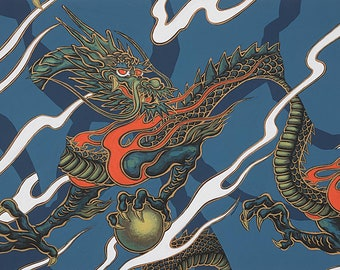 Alexander Henry Fabric - Golden Tatsu - Indigo - Cotton Woven Fabric