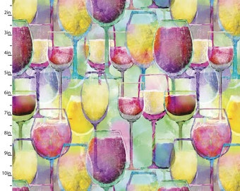 3 Wishes Fabric - Sip & Snip - Wine Glasses - 14906-MULTI - Digitally Printed Cotton Woven Fabric
