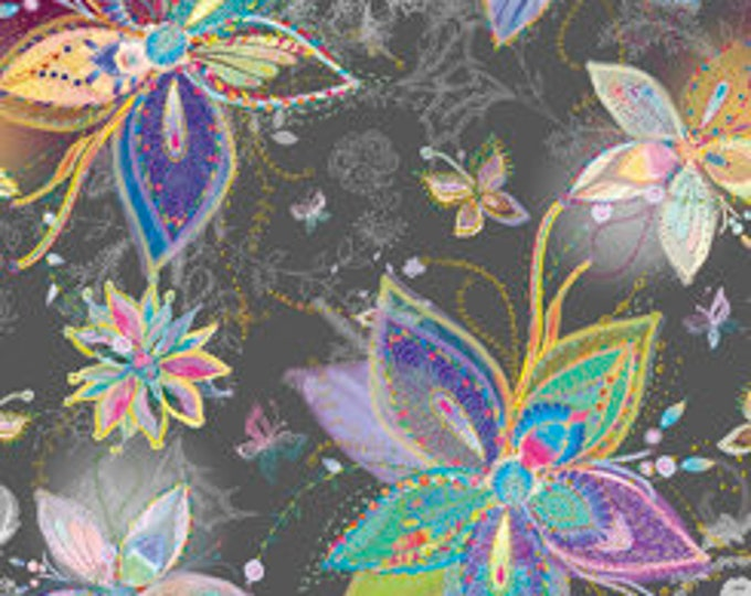 Quilting Treasures - Enchanted Floral - Large Flowers - Charcoal - Cotton Woven Fabric