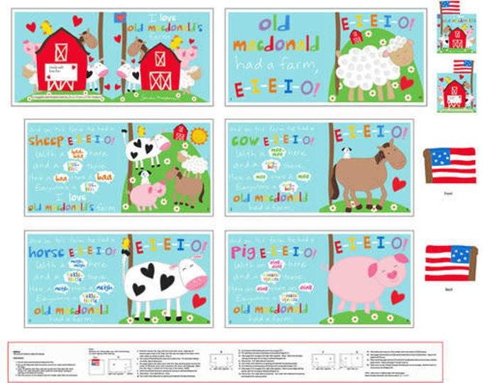 "Studio E - Huggable and Lovable VI by Sandra Magsamen - Macdonald's Farm Book  4611P-1 36"" Panel Cotton Woven Fabric  - 4611P-1"