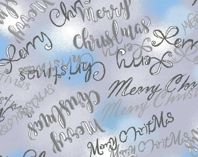 Paintbrush Studios - Blue Holidays - Frosted Window Greetings - Metallic Cotton Woven Fabric