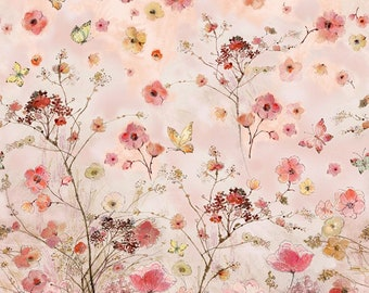 "Timeless Treasures - Pink Floral Study 24"" Panel repeat Digitally Printed #C7189-PNK Cotton Woven Fabric"