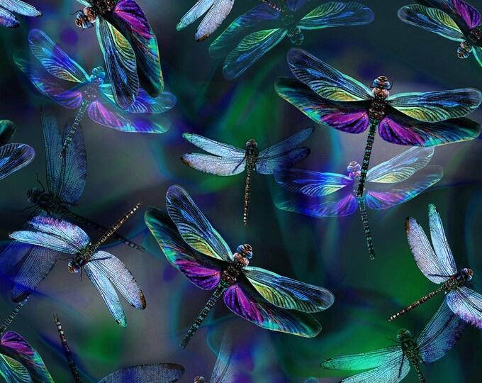Hoffman Fabrics - Dragonfly Dream - Dragonflies Digitally Printed # R4629H-324 - Cotton Woven Fabric