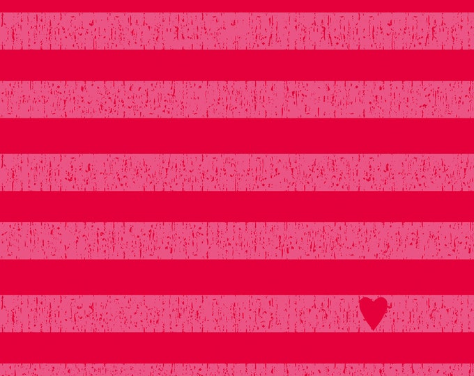"Stof Fabrics - Avalana Knits - Pink / Red Heart Stripe 19-142 63"" wide Cotton/Spandex 4-way Knit"