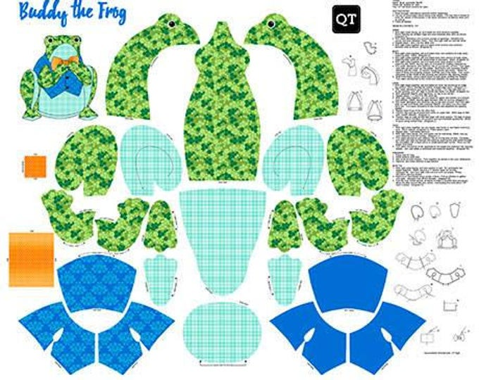 Buddy the Frog Sew and Go Cotton Woven sewing panel