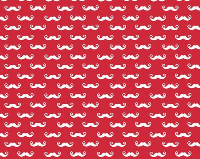 CLEARANCE -      Riley Blake Geekly Red Mustache cotton 1 Yard