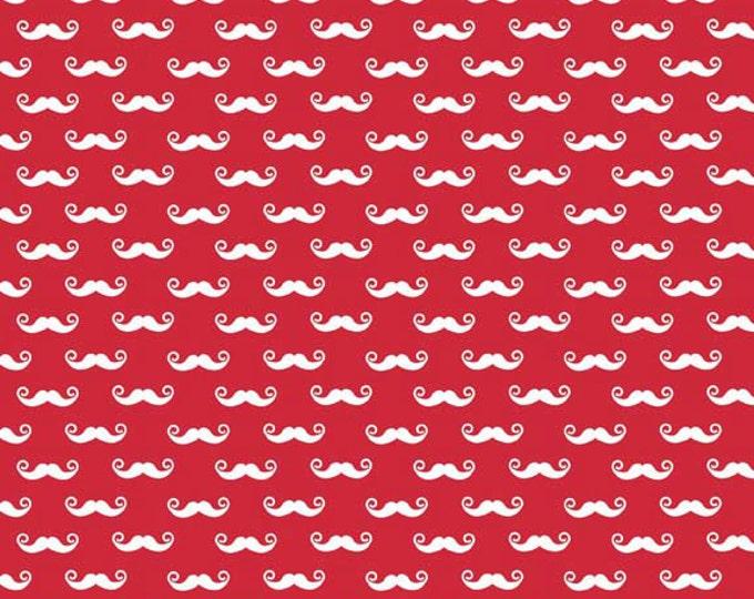 SALE !!! Riley Blake Geekly Red Mustache cotton 1 Yard