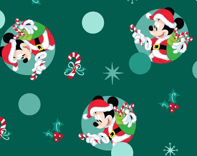 Springs Creative - Mickey Mouse Christmas Badges Knit Cotton/Spandex Knit