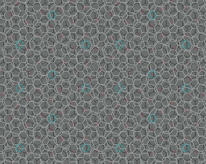 Riley Blake Fabric - Panda Love - Hexies on Light Gray cotton woven fabric