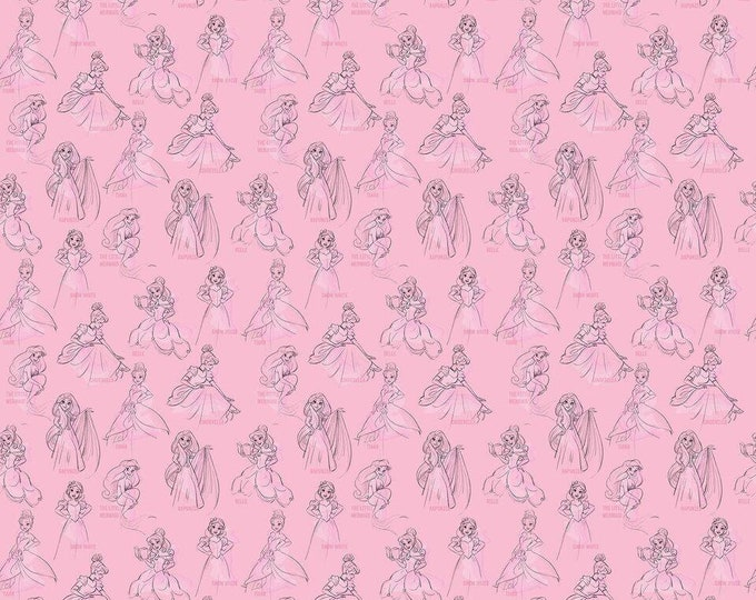Springs Creative - Licensed Disney Princess Allover Pink Cotton Woven Fabric