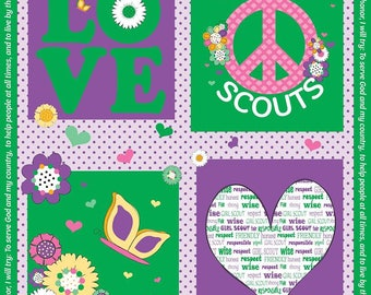 Riley Blake Fabric - Licensed Girl Scout Panel on Green cotton fabric Fabric