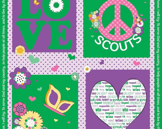 Girl Scout Panel on Green cotton fabric by Riley Blake Designs