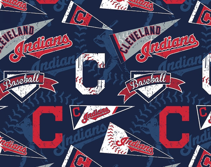 Cleveland Indians Major League Baseball Cotton Woven Fabric 60 Inches wide
