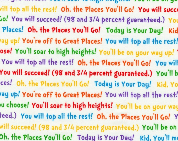Robert Kaufman - Oh The Places You'll Go by Dr Suess Enterprises - Bright Words #ADE-18388-195 Cotton Woven Fabric