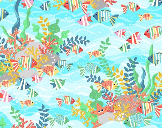 Sea Buddies - Underwater Scene - Cotton Woven Fabric - Blank Quilting 9309-70