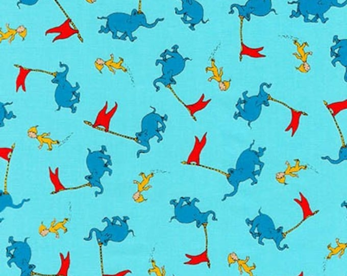 Robert Kaufman - Oh The Places You'll Go by Dr Suess Enterprises - Bright Elephant Parade #ADE-18390-195 Cotton Woven Fabric